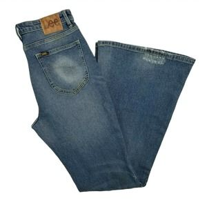 Lee x FP Distressed Flare Jeans High Rise 30 Med